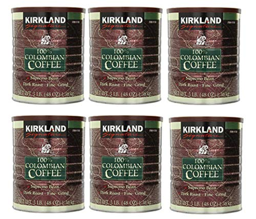 ITGHGUIK 100% Colombian Coffee Supremo Bean Dark Roast-Fine Grind, 6 Pound,Signature-ykgj 6 Pack