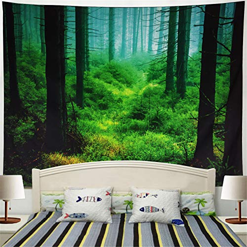 Forest Bedroom - Racunbula Misty Forest Tapestry Trees Wall Hanging Tapestry Triangle Forest Tapestry Woodland Landscape Forest Tapestry Night Multi-Color for Bedroom Living Room Dorm (59