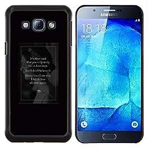 EJOOY---Cubierta de la caja de protección para la piel dura ** Samsung Galaxy A8 A8000 ** --amor de la señora de la vendimia negro retro texto del cartel