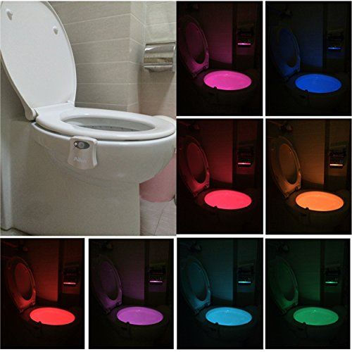 Toilet Night Light 2Pack by Ailun Motion Activated LED Light 8 Colors Changing Toilet Bowl Nightlight for Bathroom Battery Not Included Perfect Decorating Combination Along with Water Faucet Light