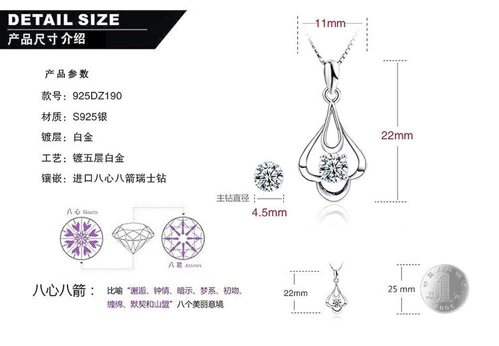 Richy-Glory 925 sterling silver diamond pendant choker necklace