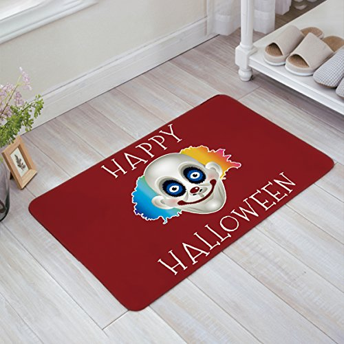 Bulingling Happy Halloween Evil Clown Entrance Rug Floor Mats Shoe Scraper Doormat Indoor/Front Door/Bathroom Mats Bedroom Doormat 18x30 Inch]()