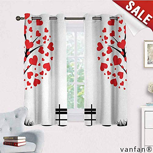 LQQBSTORAGE Tree of Life,Curtains Bathroom Window,Trees with Hearth Shaped Leaves and Bench Love Valentines Romance Design,Curtains for Party Decoration,Black Red White