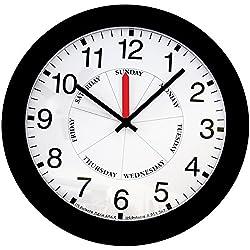 DayClock Contemporary Black Atomic 13.5 Analog Wall Clock Tells Time & Day