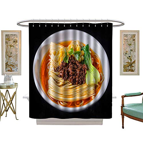 luvoluxhome Shower Curtains 3D Digital Printing Noodles with peas and Meat Sauce Custom Made Shower Curtain W54 x L78