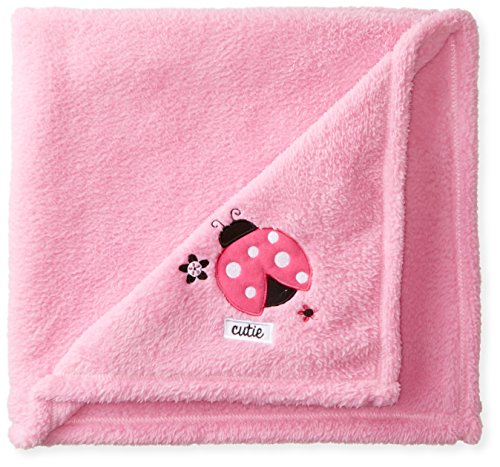 Cutie Pie Baby-Girls Newborn Girls Velboa Blanket with Applique On Hanger-Ladybug, Pink, One (Bug Boa Blanket)