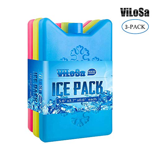 ViLoSa Ice Packs Lunch Box&Cooler,Reusable ice Pack Kids Keeps Food Cool Longer time Large ice Pack- Durable - Perfect Size - No Leaks - No Smells - 3-Pack