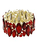 DK FASHION Aurora Borealis Crystal Stretch Bracelet - One Size Fits Most for Prom, Bridesmaids, and Weddings (Gold/Red)