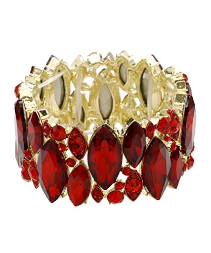 DK FASHION Aurora Borealis Crystal Stretch Bracelet - One Size Fits Most for Prom, Bridesmaids, and Weddings (Gold/Red) by DK FASHION
