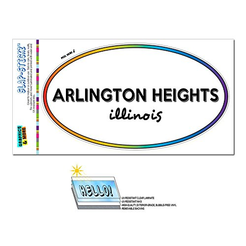 Rainbow Euro Oval Window Laminated Sticker Illinois IL City State Add - Cic - Arlington Heights (City Of Arlington Heights Il)