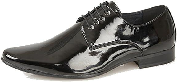 Zapatos de charol para hombre con punta fina y cordoneras con 4 ojales, color negro