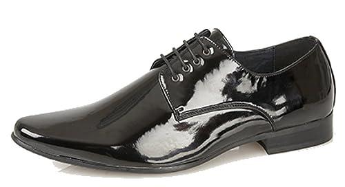 Zapatos de charol para hombre con punta fina y cordoneras con 4 ojales, color negro: Amazon.es: Zapatos y complementos