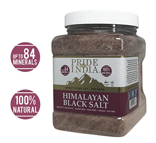 - Pride Of India - Himalayan Black Rock Salt - Fine Grind, 2.5 Pound (40oz) - Kala Namak - Contains 84+ Minerals - Perfect for Cooking, Tofu Scrambles, Table, Kitchen, Restaurant, Bathing Use