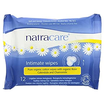 NATRACARE - Natural Cotton Intimate Wipes - Enriched with Chamomile, Calendula and Rose Essential Oils