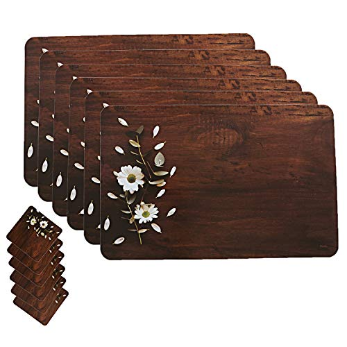 Kuber Industries Wooden Design Floral PVC 6 Piece Dining Table Placemat Set with Tea Coasters – Multicolour (CTKTC02159)