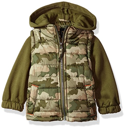 Transitional Olive Green - iXtreme Baby Boys Inf Camo Print Vest W/Fleece Hood&Sleeve, Olive, 12M