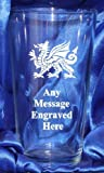 ENGRAVED WELSH DRAGON PG237 PINT GLASS IN SILK LINED GIFT BOX