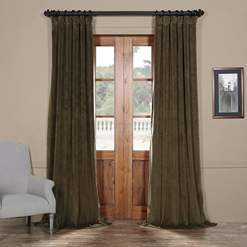 Half Price Drapes VPCH-190622-96 Signature Blackout Velvet Curtain, Hunter Green, 50 X 96 ()