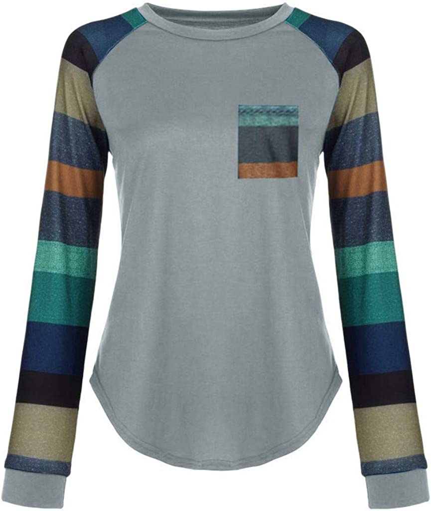 Malbaba Blouse for Women,Stripe Sleeve Patchwork T-Shirt Casual Loose Long Sleeve Top