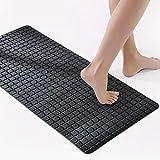 PLLP Square Bathroom Mat, PVC Strong Suction Pad, Bath Shower Mat, Japanese Solid Color Mat,Black,78x35cm