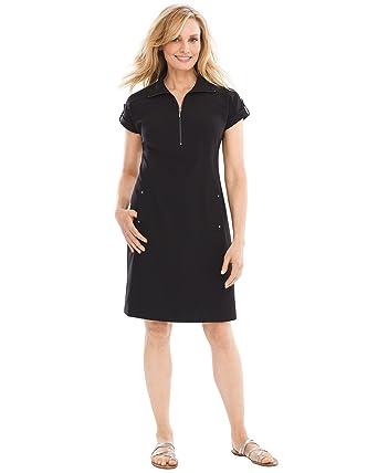 aa42b81cbe4 Chico s Women s Zenergy Neema Half-Zip Dress Size 4 6 S (0) Black at Amazon  Women s Clothing store