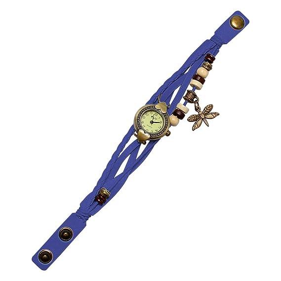 weant Moda Reloj Mujer Original Bonito Reloj de Pulsera Digital Antiguo libélula Pulsera para Mujer A Mano Anillo de Pulsera Reloj Regalo de Cumpleaños B: ...