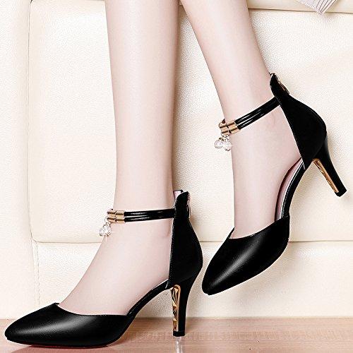 Jqdyl High Heels High-Stouml;ckelschuhe Damenschuhe New Spring Wild Shallow Mund fein mit spitzen Sommer Sandalen mit  39|C black