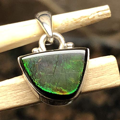 AAA Natural Canadian Ammolite 925 Solid Sterling Silver Healing Stone Pendant 22mm