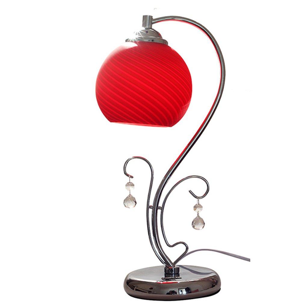 TangMengYun 現代のシンプルなLED省エネテーブルランプガラス電球のベッドルームのベッドサイドランプリビングルームの結婚式テーブルライトデスクランプE27 (Color : Red, サイズ : Button switch-15*42cm) B07D5VSPWK Red Button switch-15*42cm