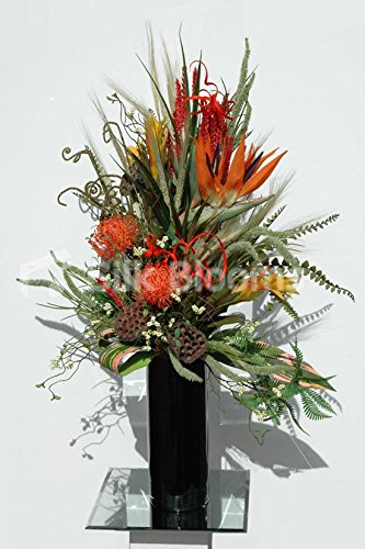 Orange Birds of Paradise Lotus Pods & Protea Floral Vase Display