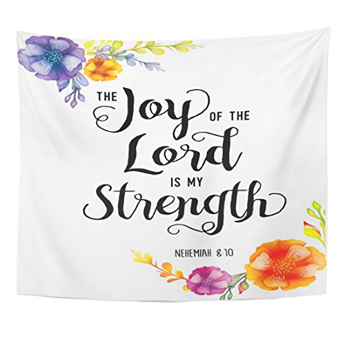 (TOMPOP Tapestry Colorful Joy of The Lord is My Strength Scripture Home Decor Wall Hanging for Living Room Bedroom Dorm 50x60 Inches)
