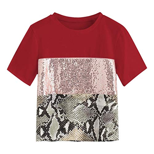 Womens Sequin Pacthwork Snake Print Short Sleeve Tee Casual Blouse Top