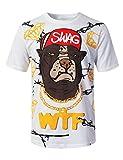 URBANCREWS Mens Hipster Hip Hop Swag Graphic Print T-Shirt White, XL