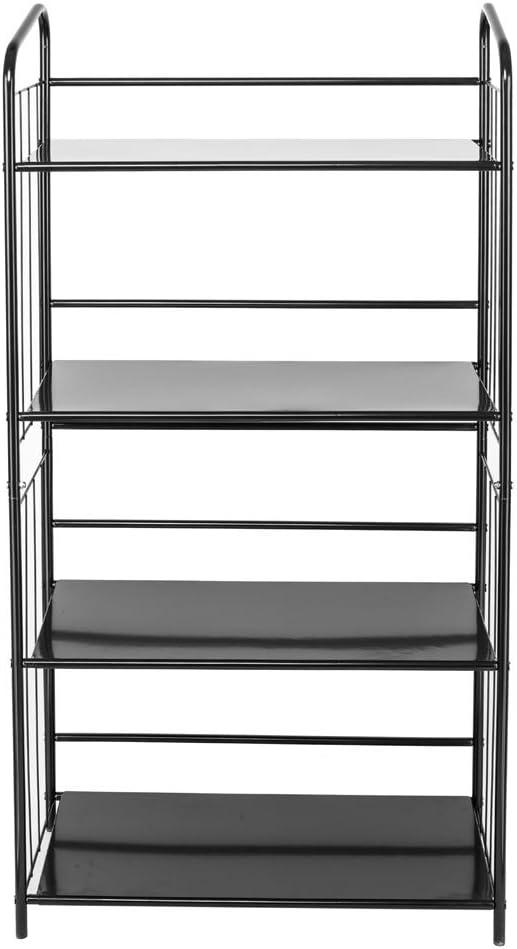 SoSo-BanTian1989 Black 4 Tier Metal Bookshelf Rack,Open Storage Shelf Bookcase