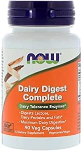 NOW Supplements, Dairy Digest Complete, Digests Lactose, Dairy Proteins and Fats*, Dairy Tolerance Enzymes*, 90 Veg Capsules