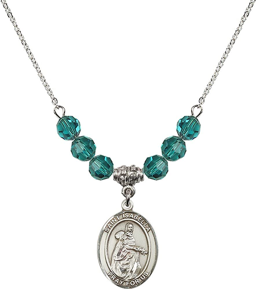 18-Inch Rhodium Plated Necklace with 6mm Zircon Birthstone Beads and Sterling Silver Saint Isabella of Portugal Charm.