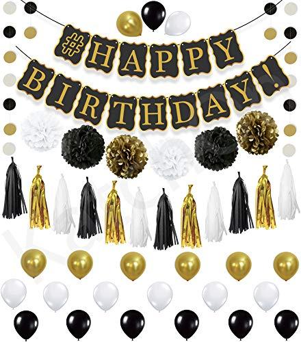 KATCHON Black Banner Decor Set - 6 Pom Poms - 2 Black | 2 Gold | 2 White - Gold Paper | 4 Black | 4 White -