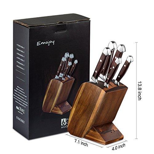 Emojoy Knife set, Kitchen Knife Set, Wooden Block 6 Pieces Knife Set with Block, German Stainless Steel (1) by Emojoy (Image #6)