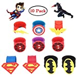 Tomus-UNI 34 Pcs Superhero Masks Set,Superhero Birthday Party for Children Aged 3+