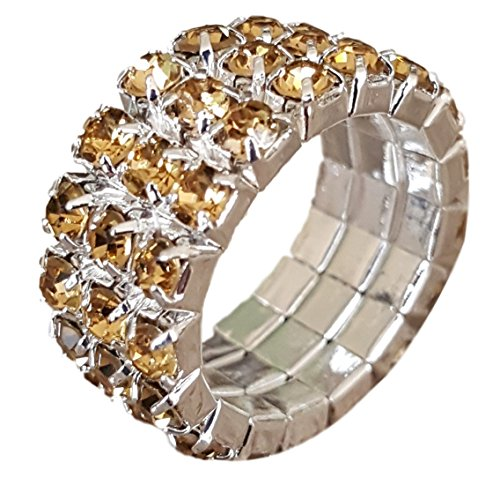 Pashal Three Row Multi Stone Adjustable Stretch Scallop Setting Stretch Elastic Cocktail Ring (Silver - ()