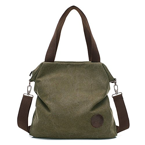 Mfeo Women Canvas Shoulder Bags Cross-Body Bag Messenger Bag Tote Bags Handbag (Army (Canvas Tote Bag Green)