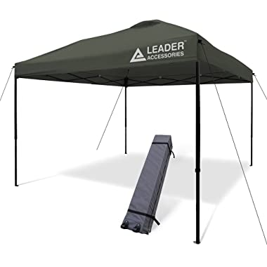 Leader Accessories 10x10 Straight Wall Pop Up Instant Canopy Dark Grey One Wheeled Carry Bag included