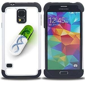 """SAMSUNG Galaxy S5 V / i9600 / SM-G900 - 3 en 1 impreso colorido de Altas Prestaciones PC Funda chaqueta Negro cubierta gel silicona suave (Píldora ADN"""")"""