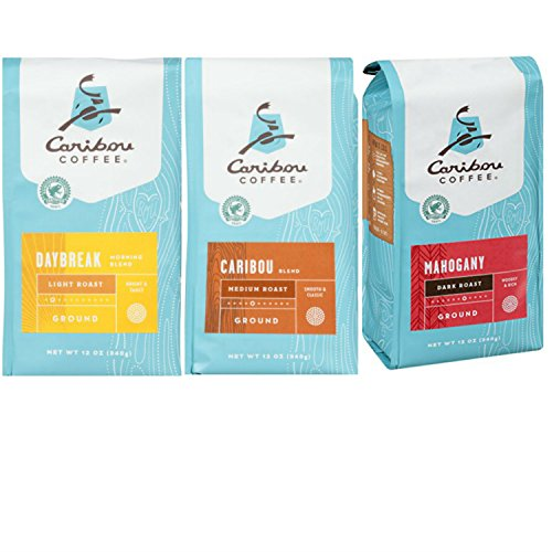 Caribou Variety Pack Featuring Caribou Daybreak, Caribou Mahogany, and Caribou Blend Ground Coffee. Convenient One-Stop Shopping For Hard To Find Caribou Blends. Coffee Paradise!