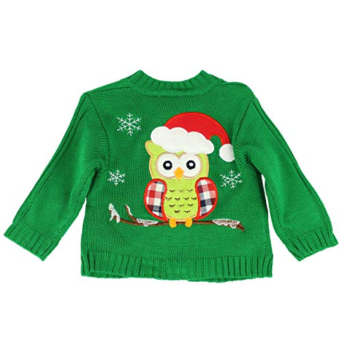 MARIA ELENA - Ugly Sweater Collection Baby is Cold Outside Wool Knitted Festive Owl Cardigan (Green, 18M)