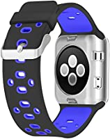 UMTELE Compatible with Apple Watch Band 38mm/40mm, 42mm/44mm, Soft Silicone Sport Strap with Ventilation Holes Breathable Replacement Bands for Apple Watch Series 4/3/2/1