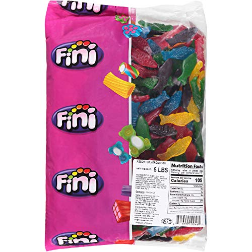 Blue Swedish Fish (Fini Assorted Nordic Fish Gummy Chewy Candy - 5 Pound)