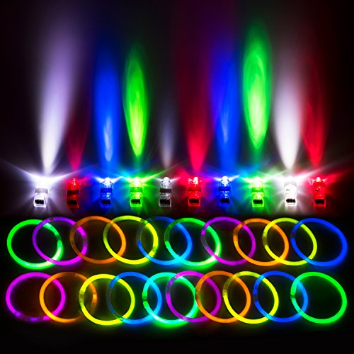 "Glow Stick Bulk Party Favors for Kids & Adults (140-Pc. Bulk Toys Bundle); 100 8"" Glow Sticks + 40 LED Finger Lights Neon Party Supplies – PartySticks Glow in the Dark Party Supplies Value Pack"