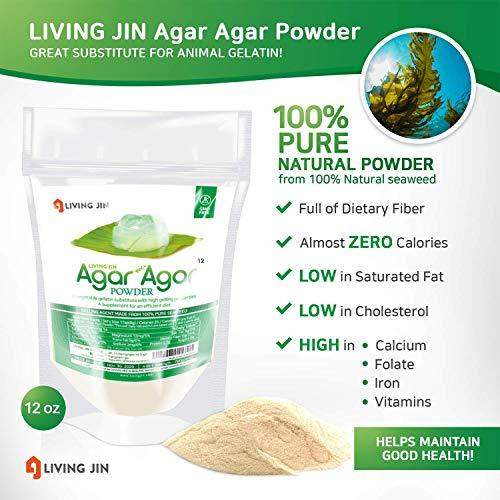 LIVING JIN Agar Agar Powder 12oz (or 4oz | 28oz) : Vegetable Gelatin Powder Dietary Fiber [100% Natural Seaweed + Non GMO + VEGAN + VEGETARIAN + KOSHER + HALAL] by LIVING JIN (Image #5)