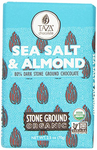 Stone Ground Organic Chocolate (Taza Chocolate Amaze Bar, 80% Stone Ground Organic, Sea Salt and Almond, 2.5 Ounce)
